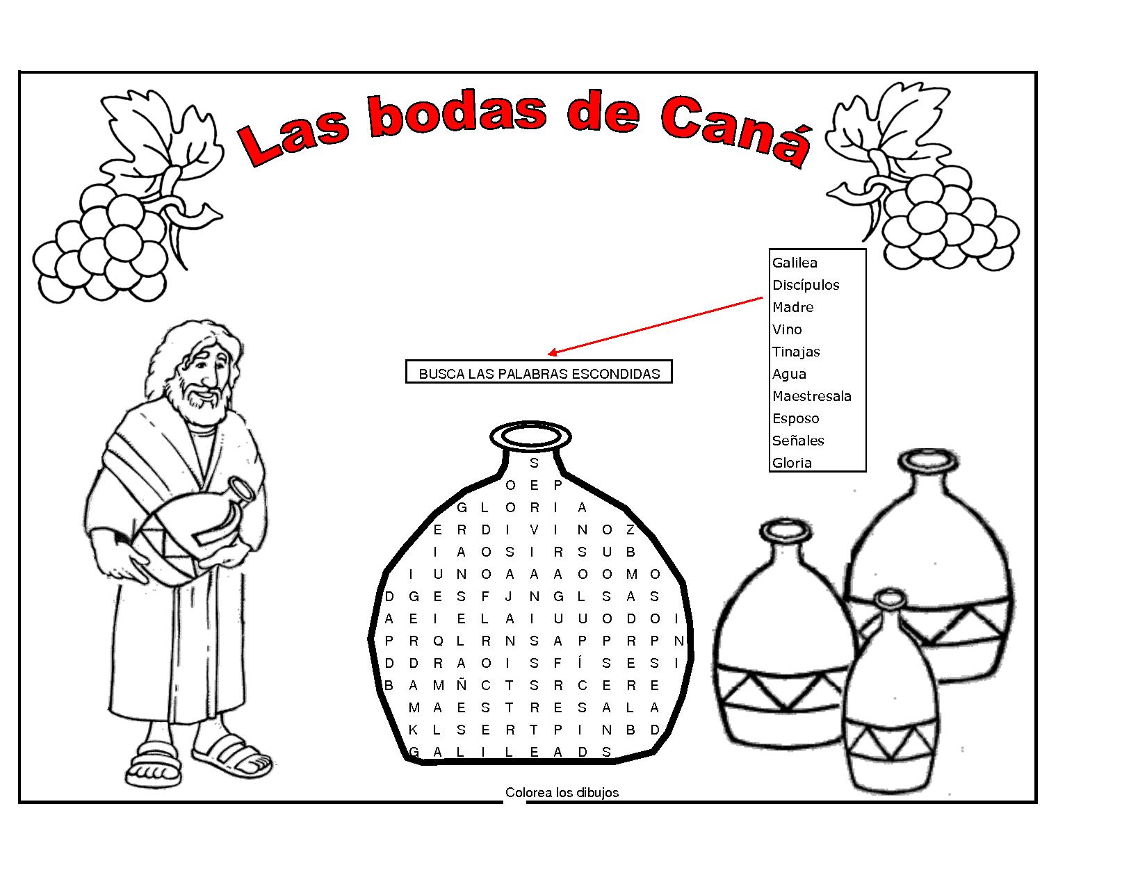 Fichas para niños Las bodas de Caná