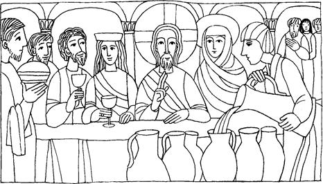 Las Bodas de Cana Jesús convierte el agua en vino.Milagros