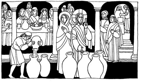Bodas de Caná , Jesús convierte agua en vino